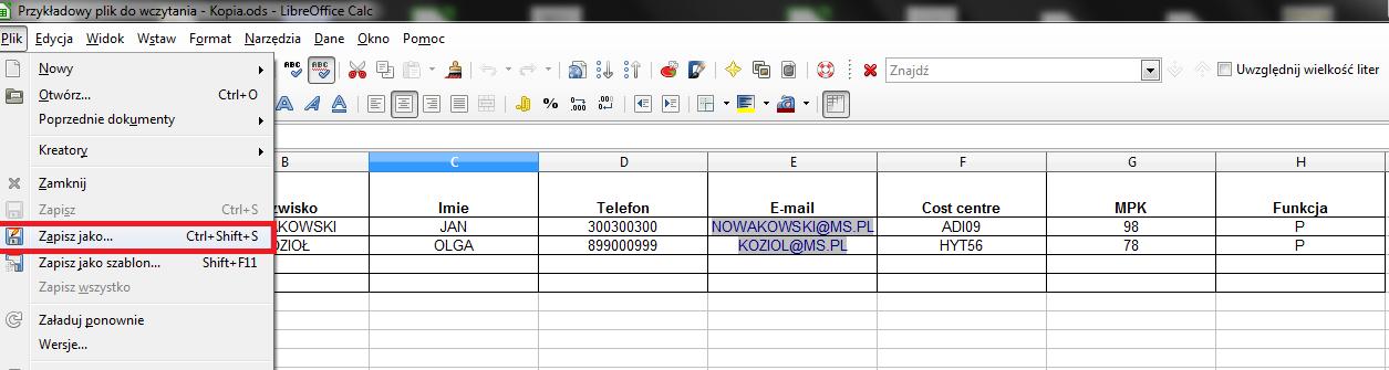 Klienci - wczytanie listy pracowników 01