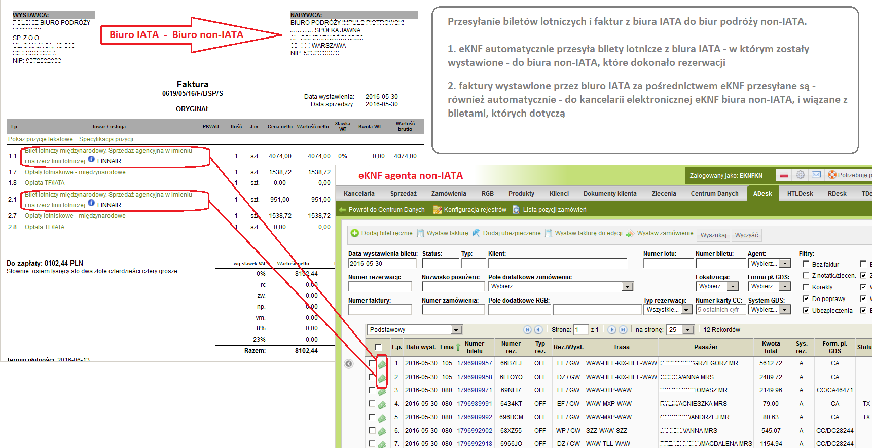 Przesyłanie faktur z biura IATA do non-IATA